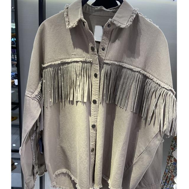 2020 Spring Autumn Fashion Rivet Tassel Denim Jacket Women Solid Short Casual Loose Jean Coat Female Outwear Tops Chaqueta Mujer 2