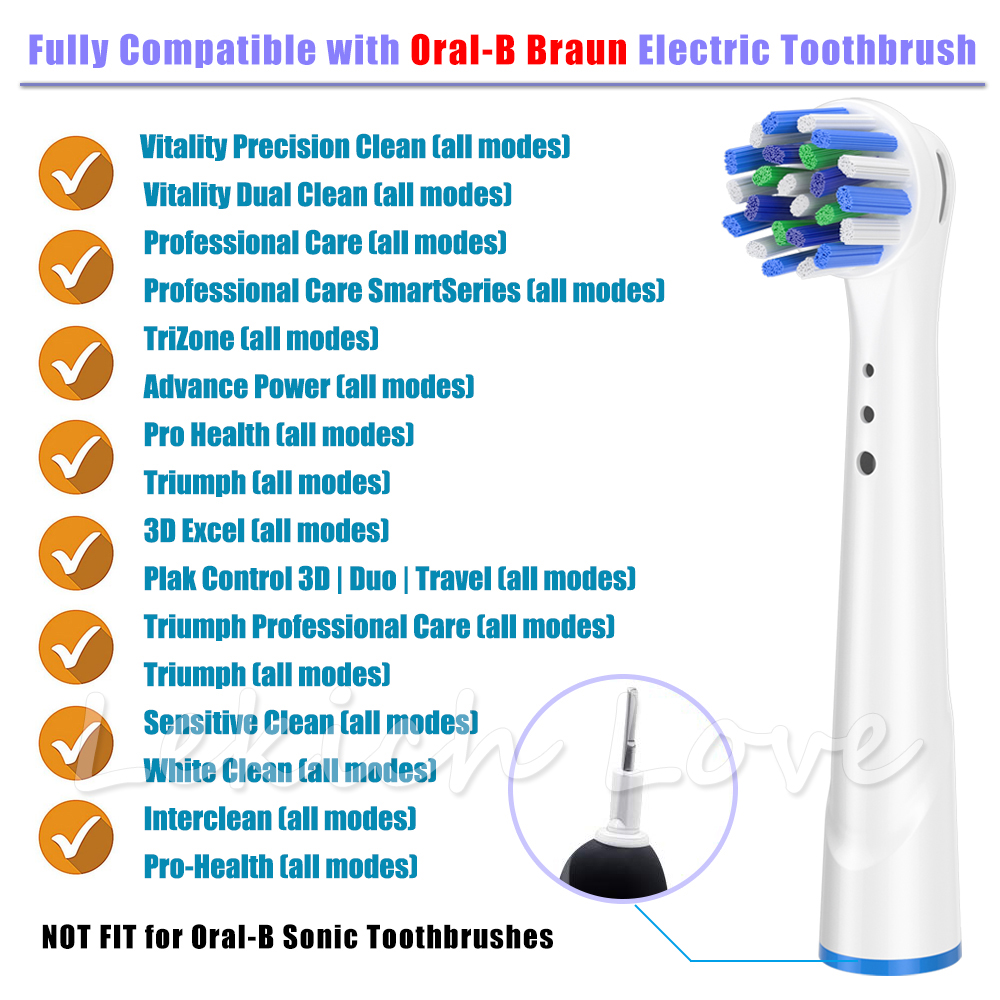 16Pcs Cross Clean Toothbrush Heads for Oral B Toothbrush Heads fit Oral B Braun Toothbrush D12,D16,D29,D20,D32,OC20,D10513, DB45