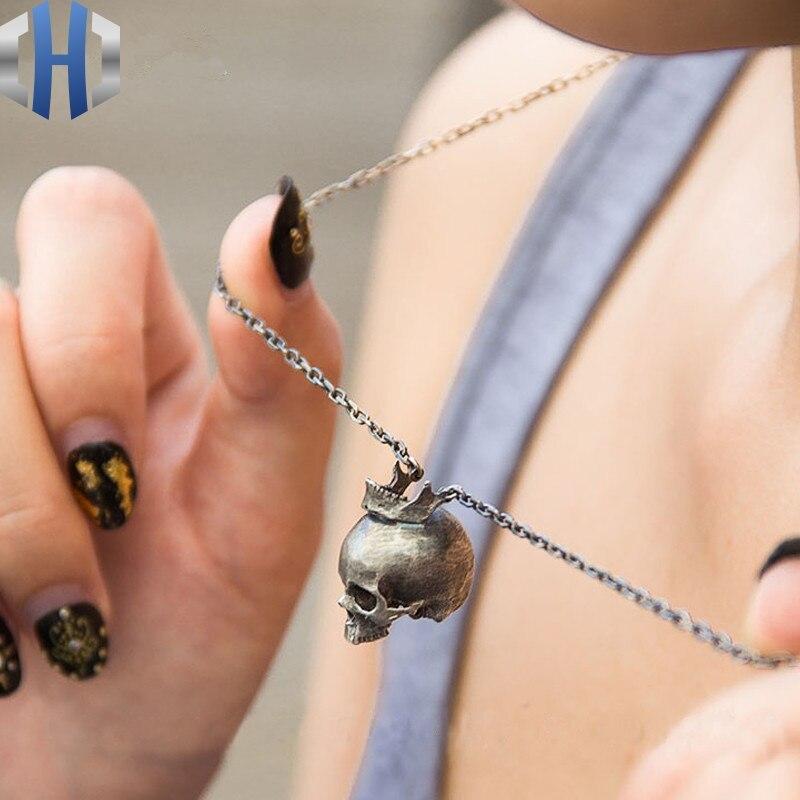 Bijoux originaux S925 en argent Sterling hommes et femmes couronne houe tête hommes et femmes pendentif collier pendentif bijoux