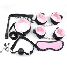 7Pcs Adult Games BDSM sex toys Plush Webbing Handcuffs Ankle Nipple Clamps Mouth Plug Flirt Bondage Restrain Erotic Accessories adult games bdsm mouth plug flirt sexy leather bondage restrain fetish mouth plug erotic toys for couples sex accessories