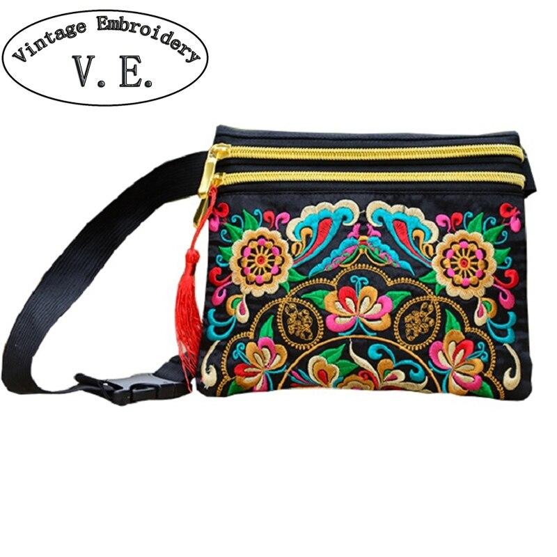 Embroidered Bag Waist-Bag Phone-Handbag Flower Day-Clutch Long-Wallet National Small