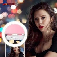 Anpro Selfie para teléfono móvil recargable Clip-on Luz de relleno Selfie anillo LED lámpara adicional fotográfica giratoria