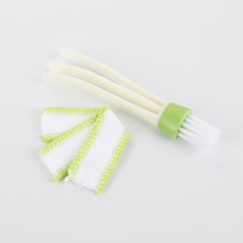 White /& Green Sanzhileg Practical Household Clean Tools Double Slider Car Air Conditioning Outlet Clean Brush Window Blinds Keyboard Cleaner Brush