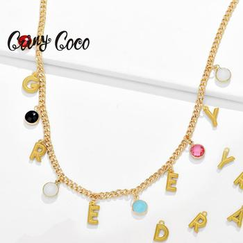Cring Coco Initial Letter Name Necklace Charms Custom Gold Jewelry Trendy Chains Pendant Necklaces Personality Crystal for Women fashion letter crystal necklace women pendant zinc alloy pearl sweater necklaces for women long initial fashion necklace jewelry