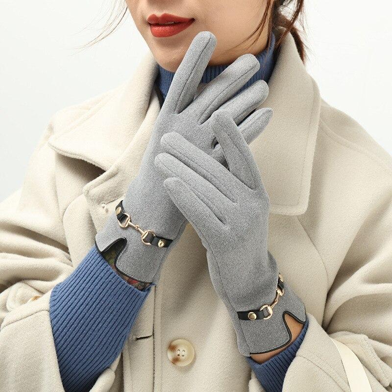 New German Velvet Gloves Winter Women's Gloves Plus Velvet Warm Cold-proof Touch Screen Black Hand Warmer Mittens Gloves