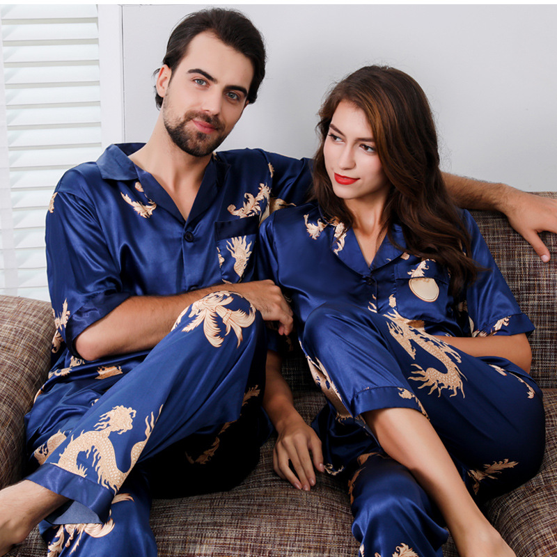 Chinese Couple Thin Silk Pajamas for Men Sleepwear Mens Pajama Set Women Short Sleeve Nightgown Sleep Wearman