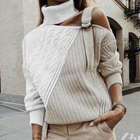 Patchwork Turtleneck Sweater Women Sexy Off Shoulder Buckle Knitted Pullover Autumn Winter Long Sleeve Jumper