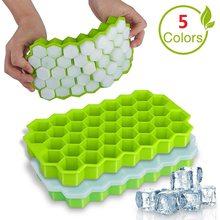 Honeycomb shape silicone ice cube making mold ice cube tray with lid ice cream party whiskey cocktail cold drink ice mold