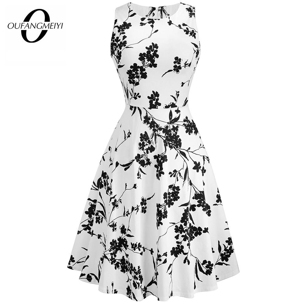 Summer Women Vintage Black Floral Print Sleeveless Swing A-line Elegant Lady O-Neck Knee-Length Dress EA099 1