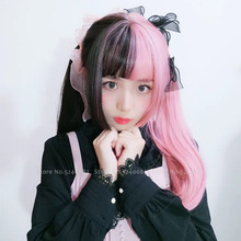 Girls Japanese Anime White Black Pink Wig Cosplay Costumes W