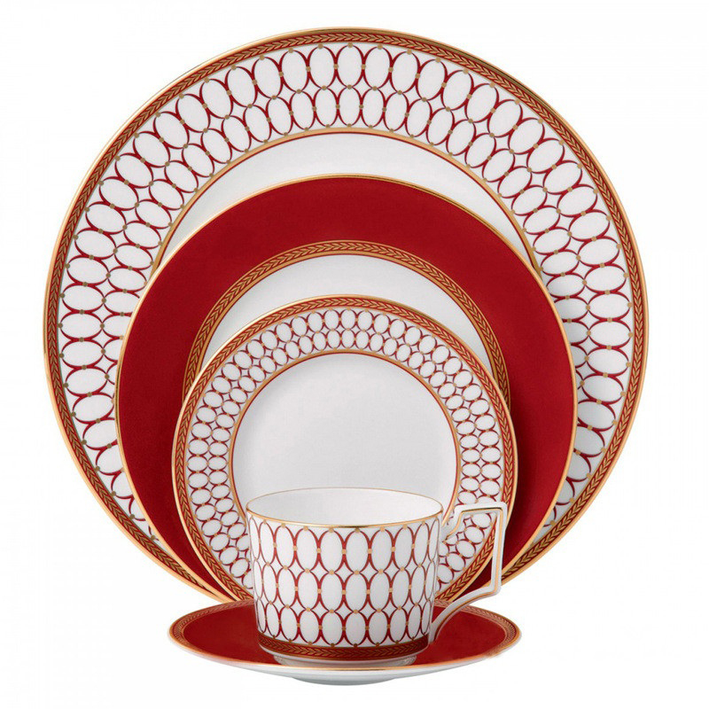 Ceramics  Cup Saucer Set Red Platter Tableware  Style Western Dinner Dishes Coffee Cup Set