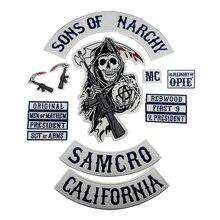Parche de motero Sons of Patch Anarchy SOA, insignia bordada para ropa, chaqueta, emblema Punk y Rock de talla grande, Iron On