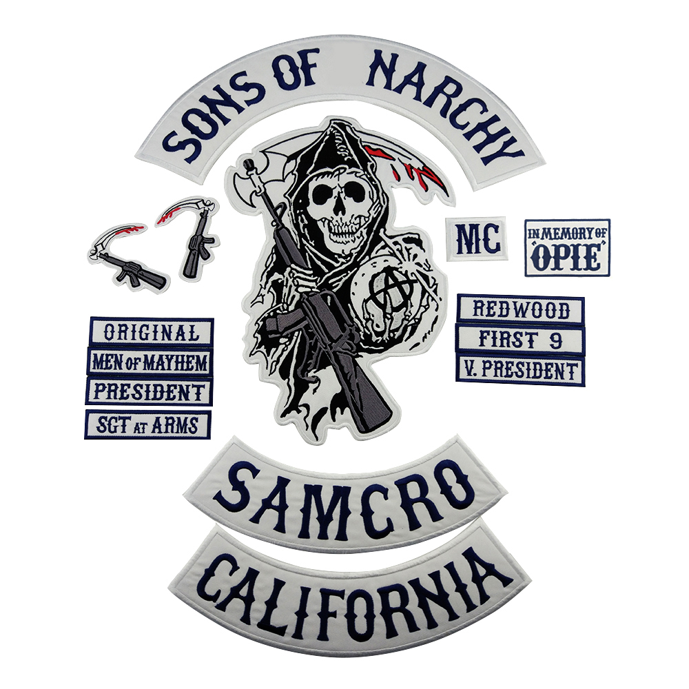 Sons Of Patch Anarchy Soa Motorcycle Patch Biker Embroidered Badge For Clothes Jacket Back Big Size Punk And Rock Emblem Iron On Patches Aliexpress