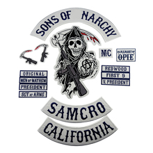 Sons of Patch Anarchy SOA Motorcycle Patch Biker Embroidered Badge for clothes Jacket Back Big Size Punk and Rock Emblem Iron On