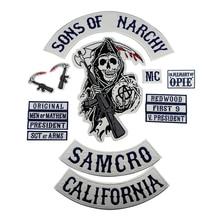 Sons of Patch Anarchy SOA Motorcycle Patch Biker Ricamato Distintivo per i vestiti Giacca Torna Grande Formato Punk e Rock Emblema ferro Su