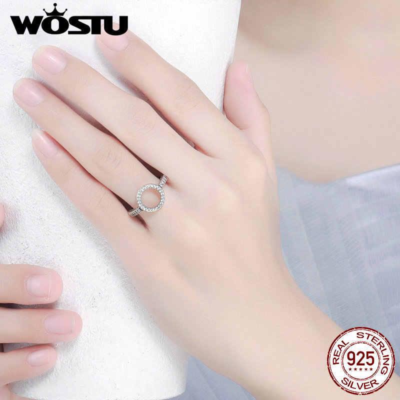 여자를위한 WOSTU 2019 뜨거운 판매 진짜 925 순은 운이 좋은 원형 손가락 반지 유행 보석 선물 Dropshipping CQR041