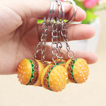 1pc Mini Cute Resin Simulation Food Key Chains Bags Car Key Ring Holder Burger Keychains Accessories Small Gifts Pendant Jewelry image