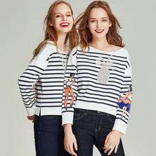Хавва весна круглый вырез свитер женский короткий Печатный черно-белый полосатый джемпер пуловер V3082