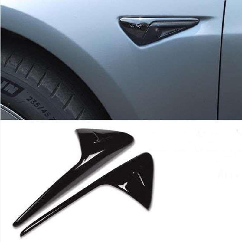 2 uds cubierta protectora negra brillante de la cámara del lado del coche para los accesorios de la tapa de la decoración del Modelo 3 X S de Tesla