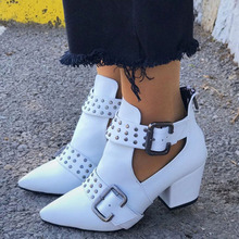 Summer Ankle Boots Women 2020 Rivet Buckle Western Cowboy Boots Chunky Heels Pointed Toe White Black Leather Booties Vintage