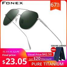 FONEX Titanium Nguyên Chất Kính Mát Nam Thương Hiệu Thiết Kế Vuông Kính Chống Nắng cho Nam 2019 New Lái Xe Ngoài Trời UV400 Sắc Thái 8506