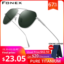 FONEX טהור טיטניום מקוטב משקפי שמש גברים מותג עיצוב כיכר שמש משקפיים לגברים 2019 חדש נהיגה חיצוני UV400 גוונים 8506