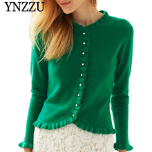 YNZZU 2019 Spring Autumn Green Women Ruffles Knitted jacket Long sleeve O-neck Female Cardigan New Chic Short Top Outwear YO921
