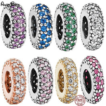 цена на New 925 Silver Shine Colorful CZ Round Charms Beads Fit DIY Bracelet For Women pandora Jewelry
