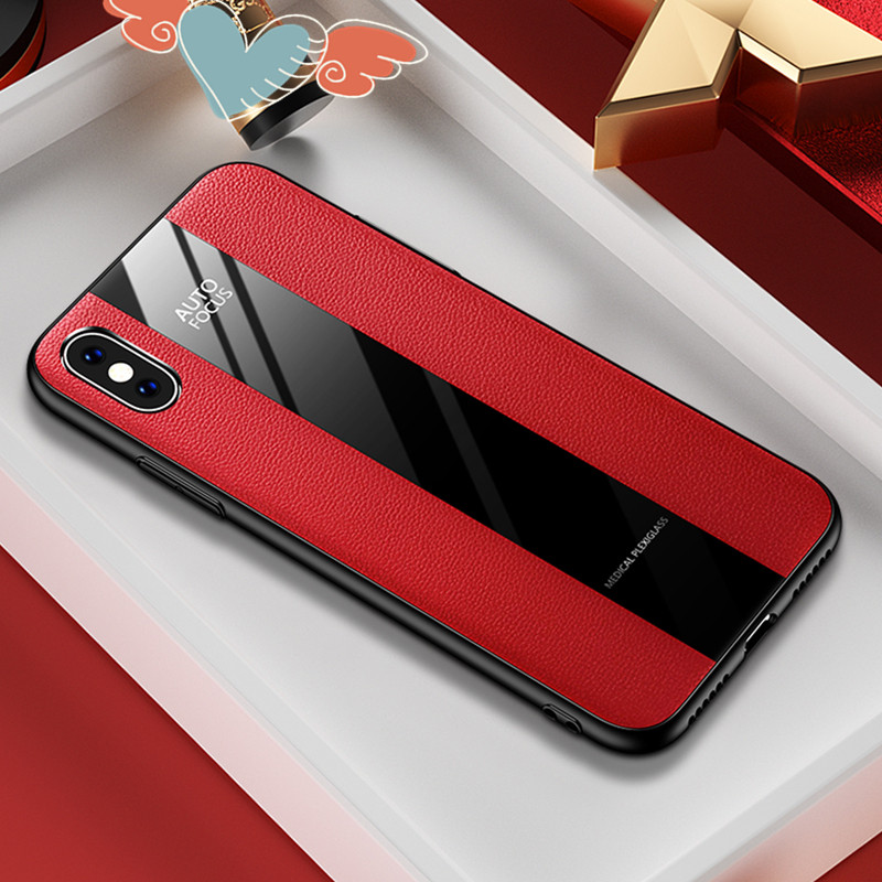 Case for <font><b>iPhone</b></font> XS MAX X XR XS 7 8 <font><b>6</b></font> 6S Plus PU <font><b>Leather</b></font>+Glass <font><b>Cover</b></font> for Fashion Women Men Cases for Samsung S8 S9 S10 Plus Lite image