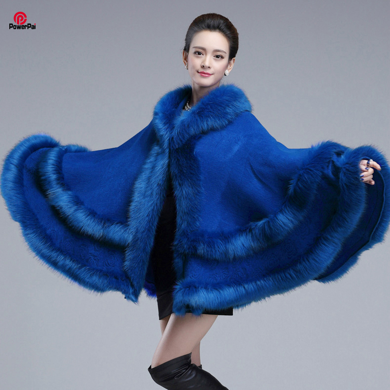 EuropeStyle Fashion Double Fox Fur Coat Cape Hooded Knit Cashmere Cloak Cardigan Outwear Plus Size Women Winter New Shawl 1.1kg