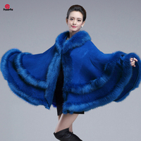 EuropeStyle Fashion Double Fox Fur Coat Cape Hooded Knit Cashmere Cloak Cardigan Outwear Plus Size Women Winter New Shawl 1.1kg