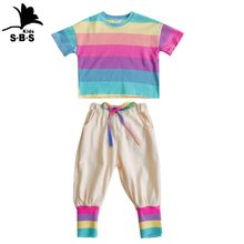 2019 Summer Hot Sale Girls Half-sleeved Rainbow Color Children's Suit Kids Girls Princess Cropped Trousers Two-piece Causal Set(China)