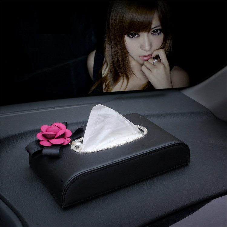 Car Mounted Tissue Box For Car Camellia Paper Extraction Box Seat Tissue Dispenser Car Napkin Box Interior Trim Women's