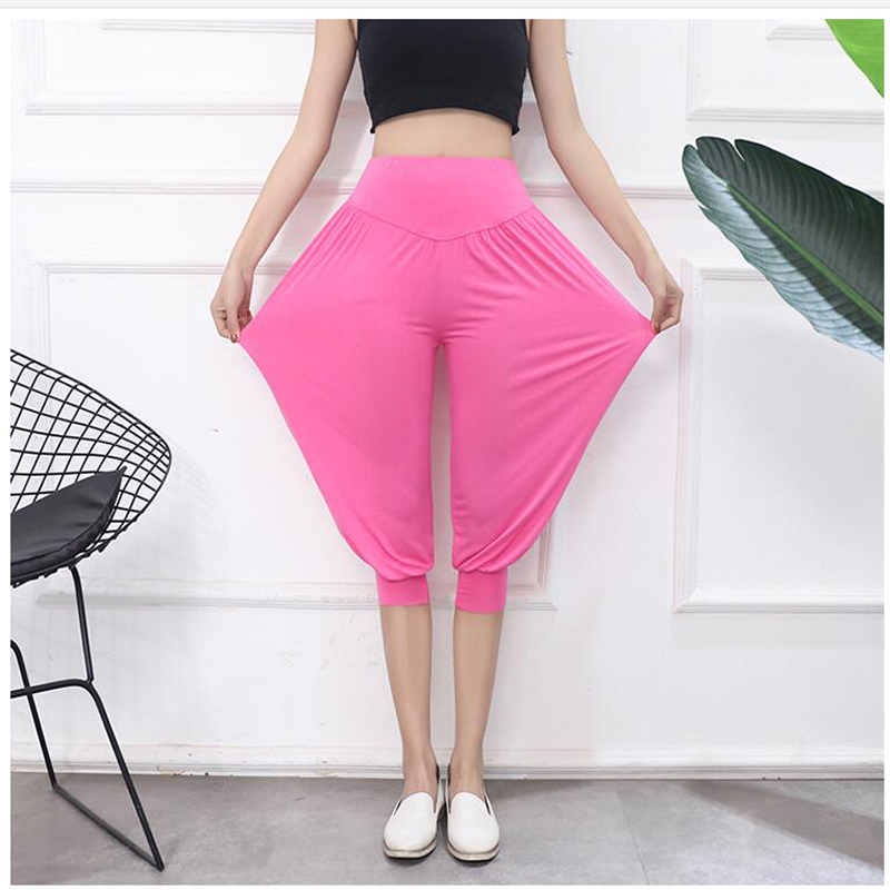 Shikoroleva Women Short Leggings Jogger Pants 2020 High Waist 3/4 Capris Modal Loose Plus Size Legins Purple Rose Red Black