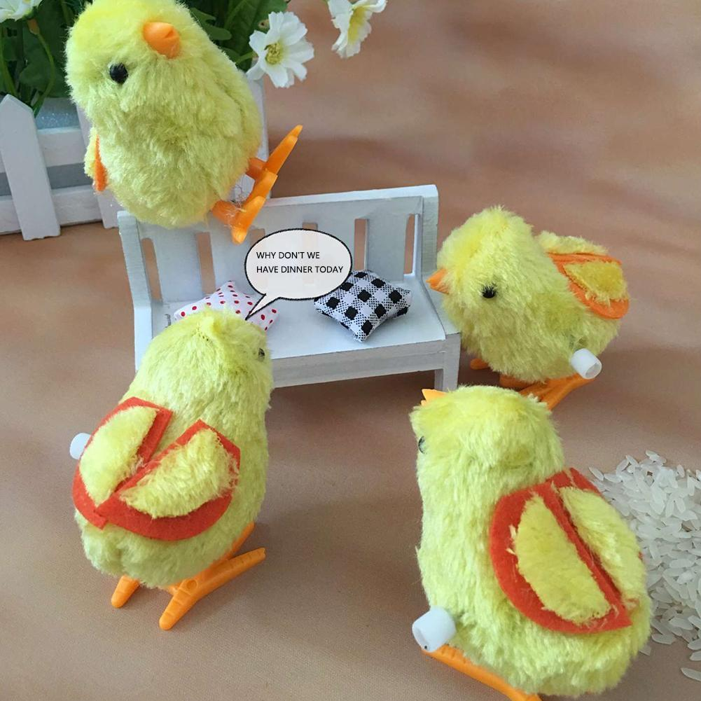 1 Pcs Clockwork Chick Toy Cute Plush Jumping Walking Yellowchicks Kids Educational Classic Gifts Children Clockwork Plush Toys