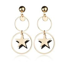 VOHE New Gold Metal Earrings For Women Girls Round Geometric Earrings Indian Brincos Accessories Female Vintage Circle Earrings(China)