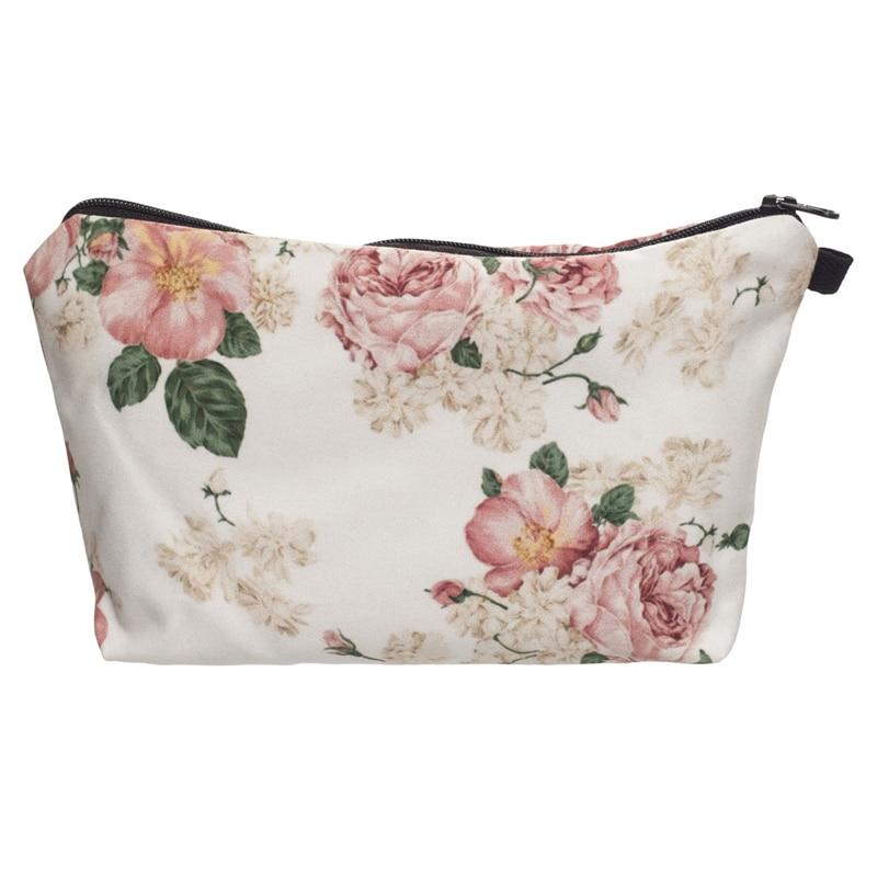 New 3D Prints Cosmetic Bag Powder Pink Roses Neceser Portable Makeup Bags Case Organizer Bolsa Feminina Travel Toiletry Bag