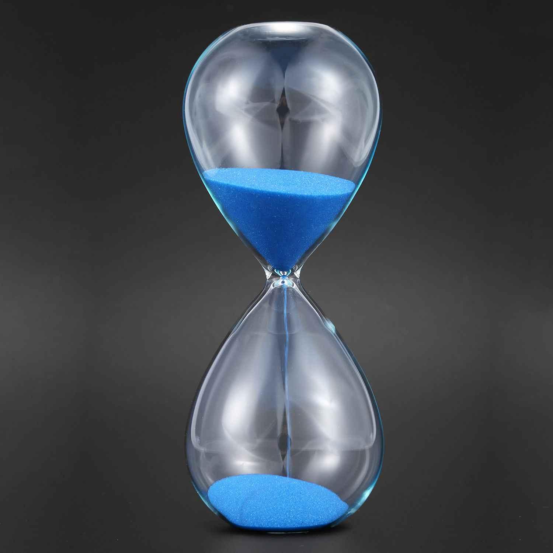 Grande moda azul areia vidro ampulheta ampulheta temporizador claro suave vidro medidas de mesa casa decoração natal aniversário gif