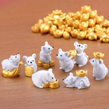 Деньги Фортуна мультфильм мышь украшения богатые мыши маленькая Статуэтка настольные Ремесла милые животные украшение дома 1 шт