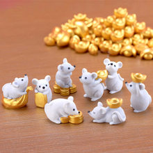 Money Fortune Cartoon Mouse Ornaments Rich Mice Small Statue Little Figurine Desktop Crafts Cute Animal home Decoration 1PC(China)
