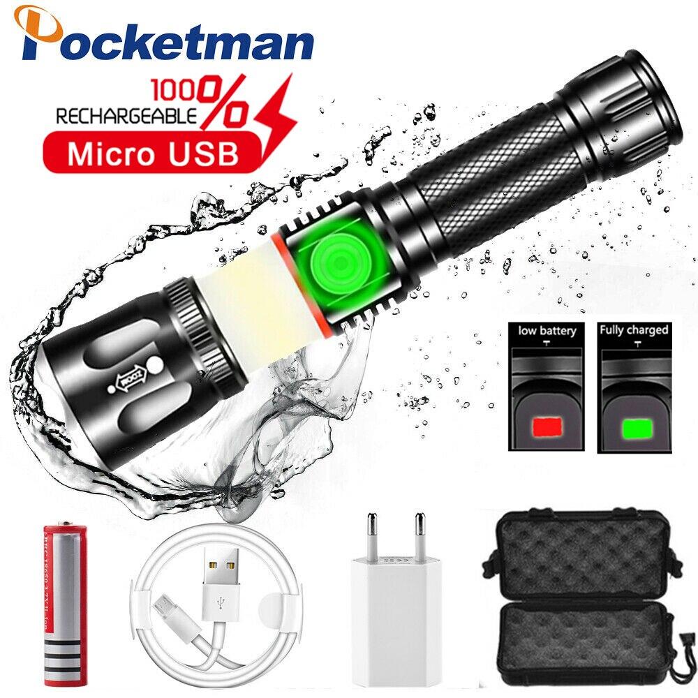 Nueva linterna táctica LED de 4 modos linterna USB carga magnética linterna Zoom luz de trabajo uso 18650 batería como banco de energía Linterna de luz de emergencia recargable multifunción LED 30/60/90 Mini 30 lámpara de luz LED de emergencia para campamento en casa al aire libre
