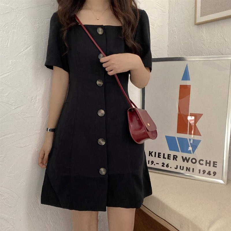 Dress Women Spring Solid Square Collar A-line Slim Simple Mini Dresses Korean Style Short Sleeve Party Sexy Lady Fashion Loose 2