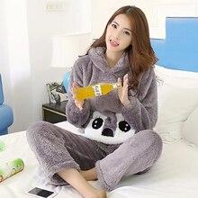 Женские зимние теплые пижамные комплекты для сна и отдыха, флисовые пижамы с длинными рукавами, женская утепленная Домашняя одежда, пижамы для девочек