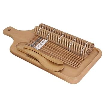 9pcs/set Sushi Mat Bamboo Knife Rice Spoon Chopsticks Sushi Maker Set Rice Mold Kitchen Sushi Mold Cooking Tool 3