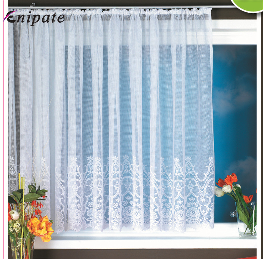 Enipate European Style Knitted Jacquard Door Curtain Full Polyester White Lace Curtains Window Home Decoration Large Size