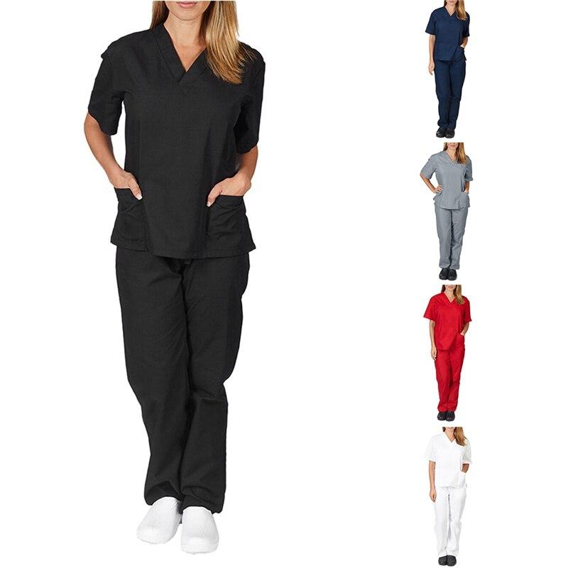 Kadın erkek iş giysisi kısa kollu v yaka üstleri + pantolon hemşirelik çalışma üniforması takım elbise fırçalayın üniforma tulum giysileri