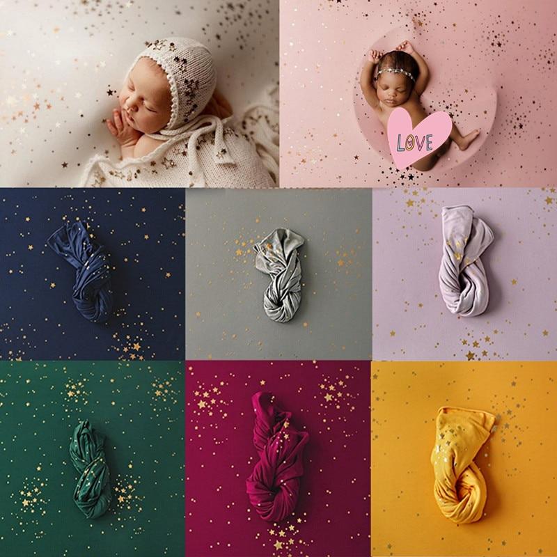 40 / 150*170cm Neugeborenen Fotografie Requisiten Decke Baby Vergoldung Sterne Decke Hintergrund Stoffe Tuch Baby Schießen Studio zubehör