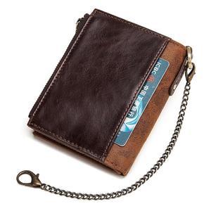 Image 3 - GZCZ 100% אמיתי עור Rfid ארנק גברים מטבע ארנק קצר זכר כסף תיק שרשרת Portomonee זכר ארנק כיס משלוח לחרוט