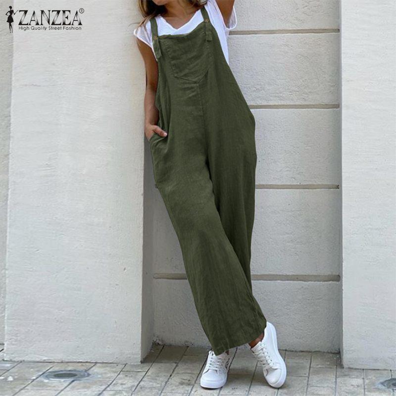 Women Suspender Jumpsuits ZANZEA Rompers Womens Overalls 2020 Vintage Cotton Wide Leg Pants Playsuits Solid Pockets Combinaison