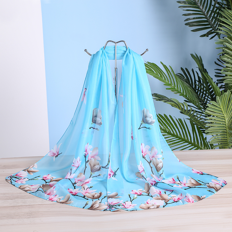 Brand New Chiffon Scarf Women Spring Summer Silk Scarves Thin Flower Shawls And Wraps Foulard Print Hijab Stoles Wholesale(China)